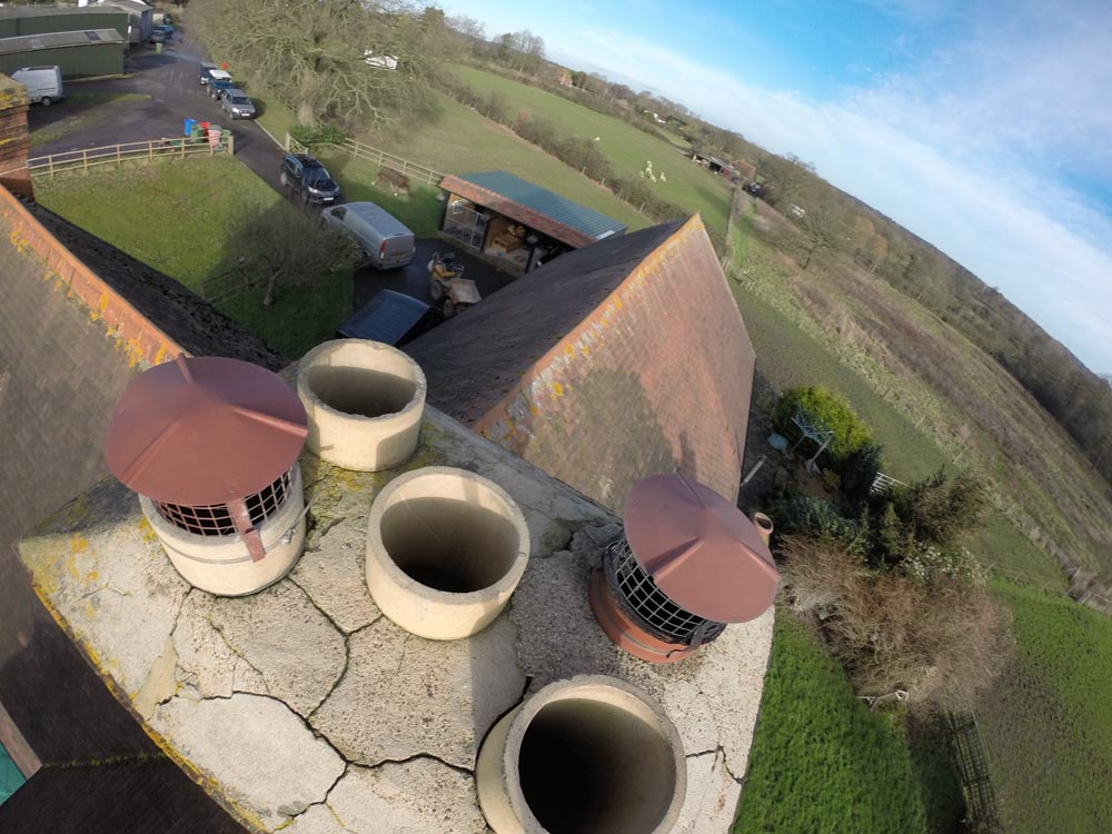 airocam view of chimney pots